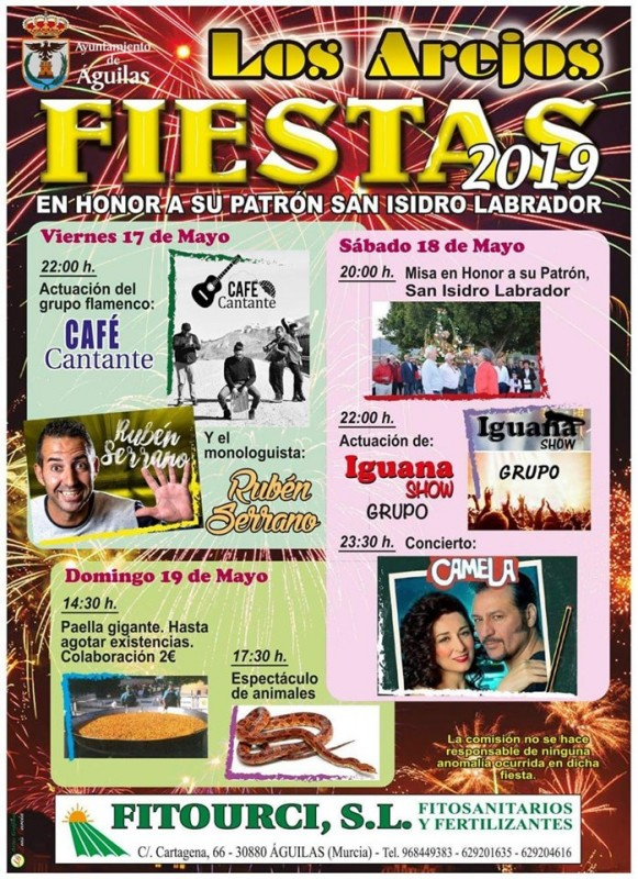 <span style='color:#780948'>ARCHIVED</span> -  17th to 19th May Fiestas of San Isidro in Los Arejos, Águilas