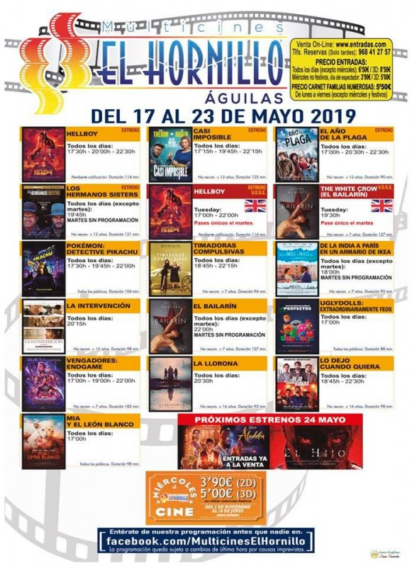 Tuesday 21st May ENGLISH language cinema at the Multicines El Hornillo in Águilas