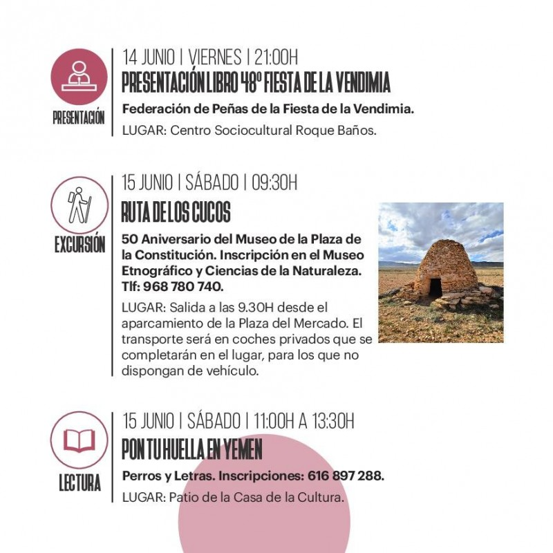 Jumilla cultural agenda May to August 2019