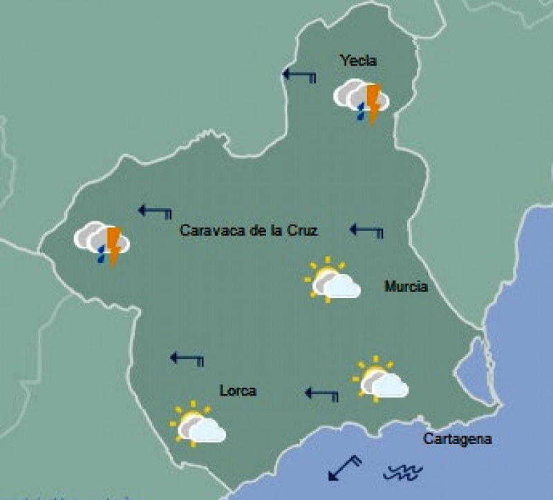 <span style='color:#780948'>ARCHIVED</span> - Thunderstorms return to northern Murcia to start a cooler weekend in the Costa Cálida