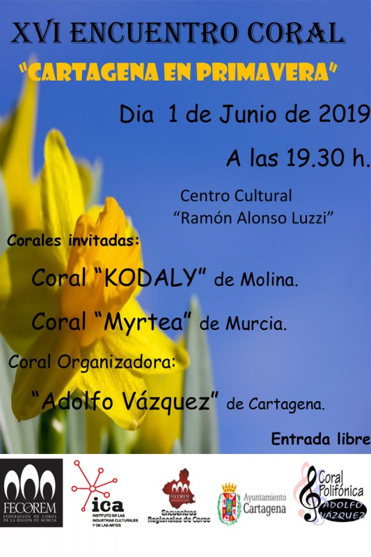 <span style='color:#780948'>ARCHIVED</span> - Saturday 1st June FREE choral concert in Cartagena