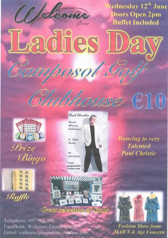 <span style='color:#780948'>ARCHIVED</span> - Wednesday 12th June Welcome Group Ladies Day Camposol Mazarrón