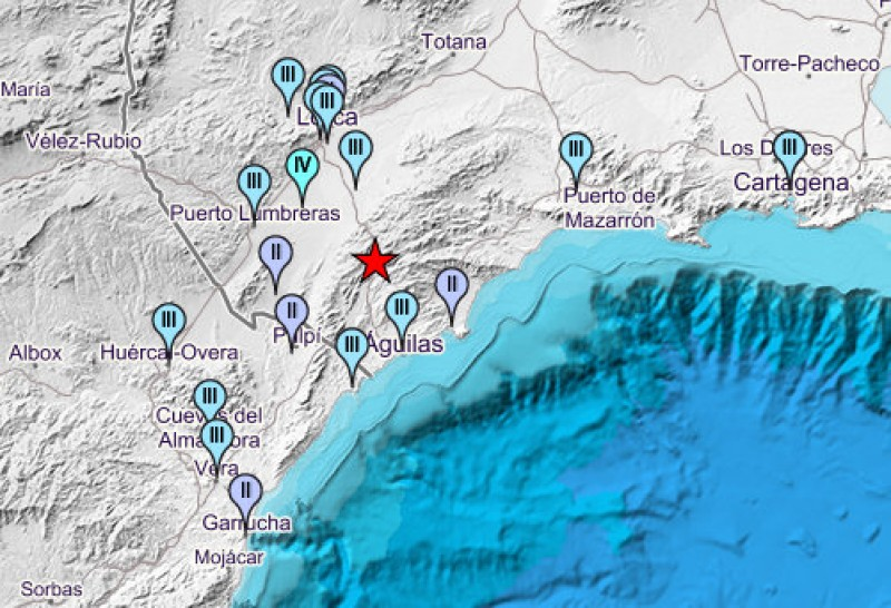 3.8 mbLg earthquake shakes Lorca Águilas and Puerto Lumbreras