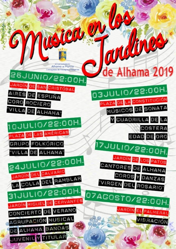 <span style='color:#780948'>ARCHIVED</span> - Wednesday 24th July Free folk music in Alhama de Murcia; Jardín del Calvario