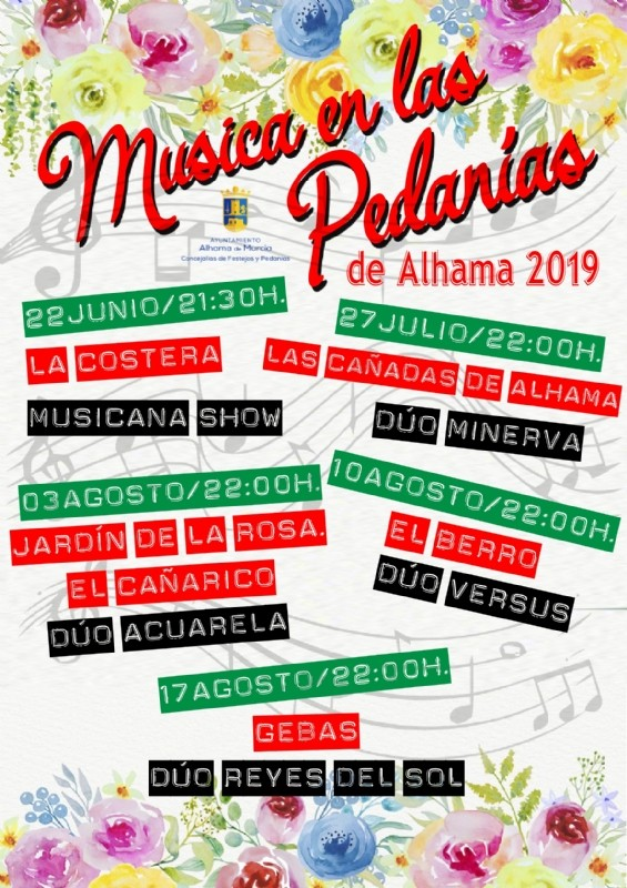 <span style='color:#780948'>ARCHIVED</span> - Saturday 3rd August Alhama de Murcia; free concert in the outlying area of El Cañarico