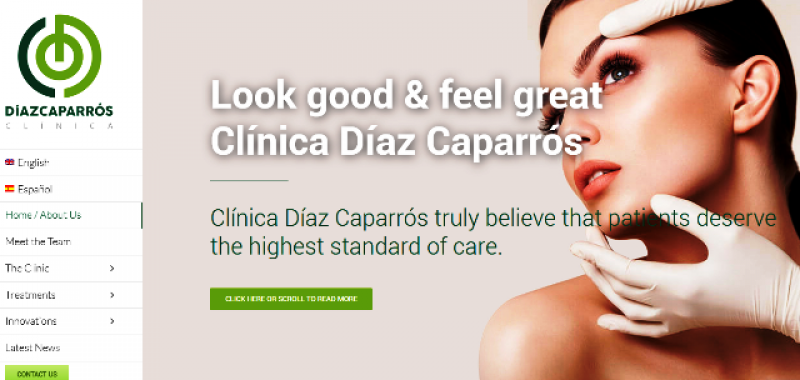 All you need to know about aesthetic medicine and other treatments on the new website of Clinica Diaz Caparrós