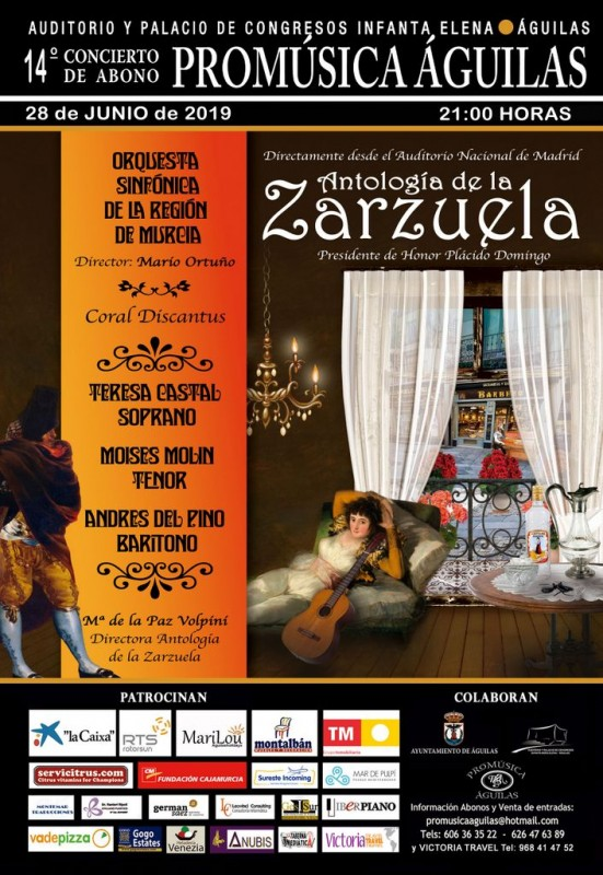 <span style='color:#780948'>ARCHIVED</span> - 28th June A night of Zarzuela light opera at the Águilas Auditorium