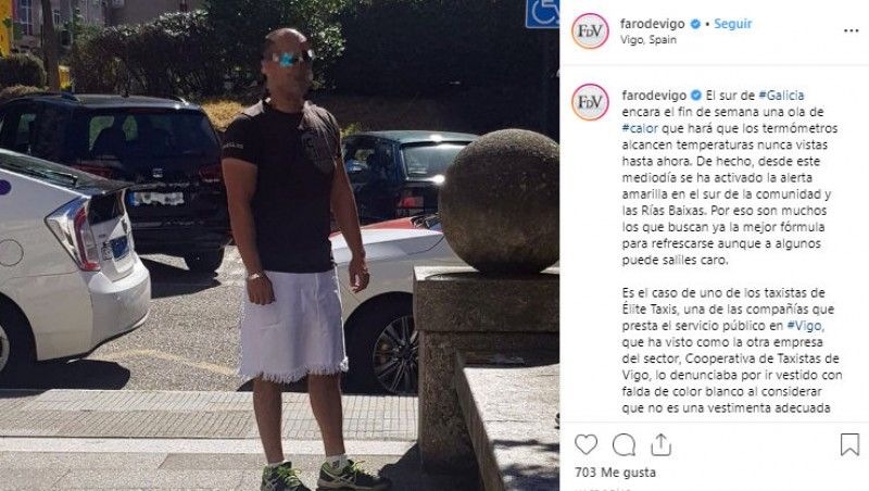 <span style='color:#780948'>ARCHIVED</span> - Male taxi driver in Vigo could be fined for wearing a skirt