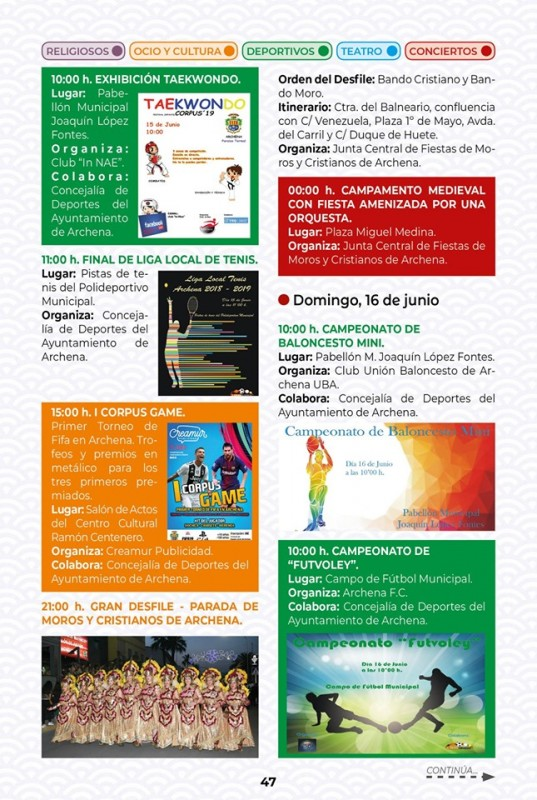 <span style='color:#780948'>ARCHIVED</span> - Fiestas in Archena; programme for 13th to 16th June 2019