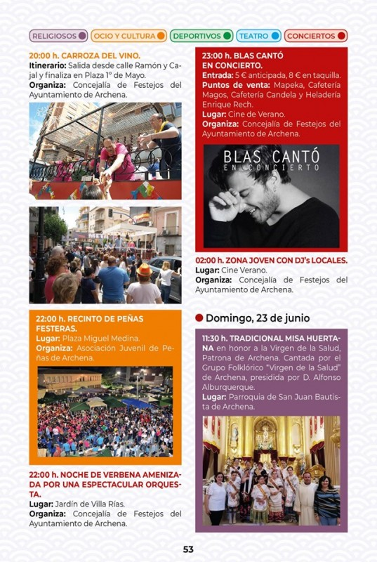 18th to 23rd June Corpus Cristi and Fiestas in Archena