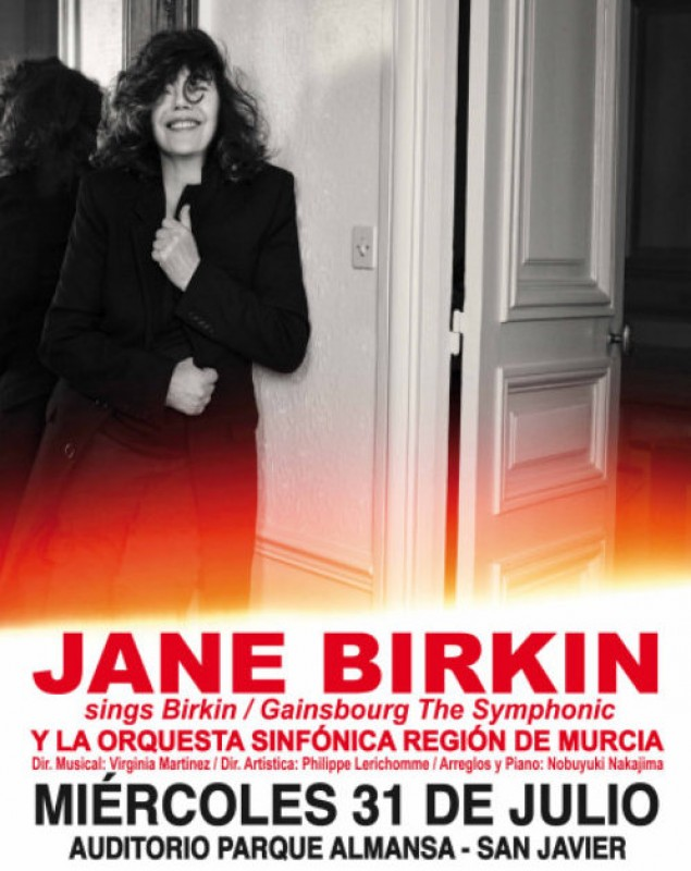 31st July Jane Birkin and the Region of Murcia Symphony Orchestra in concert in San Javier