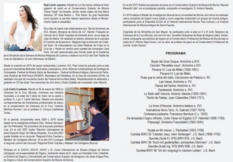<span style='color:#780948'>ARCHIVED</span> - 20th June: Free organ and soprano recital in the church of Santa Eulalia, Murcia
