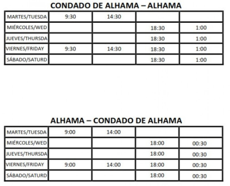 <span style='color:#780948'>ARCHIVED</span> - Summer bus services between Condado de Alhama and Alhama de Murcia 2019