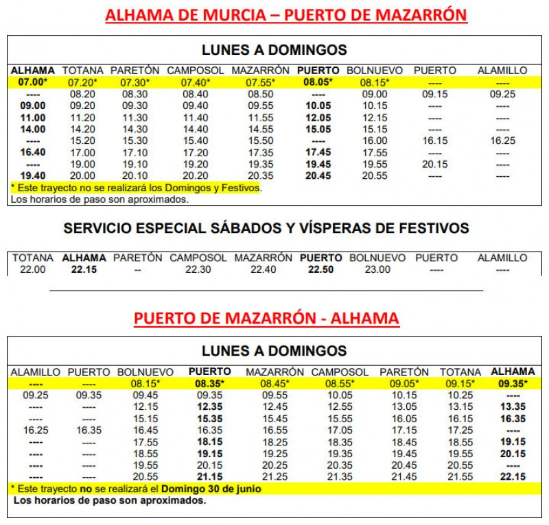 <span style='color:#780948'>ARCHIVED</span> - Buses to and from Alhama de Murcia 2019
