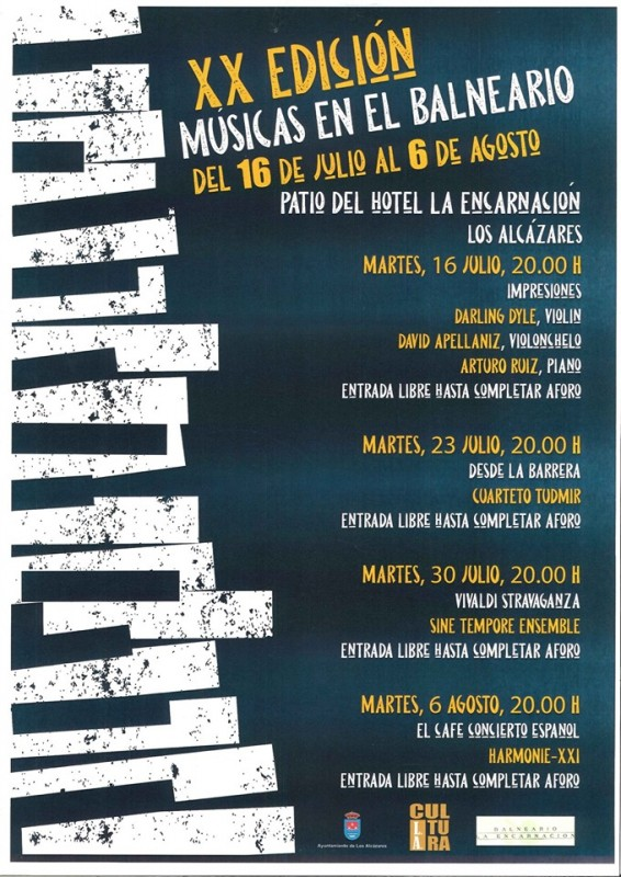 Tuesday 30th July Free classical concert in the Hotel la Encarnación, Los Alcázares