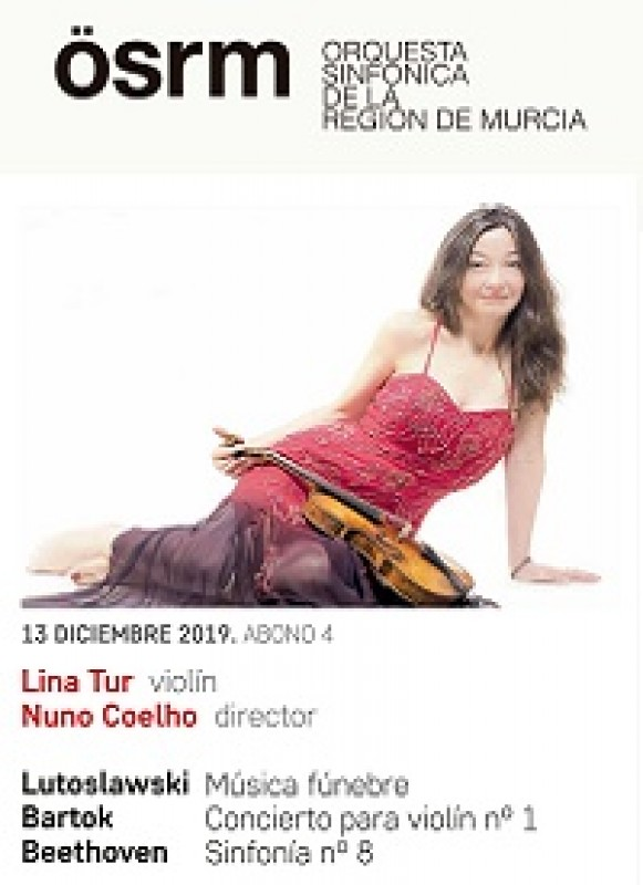 13th December, violinist Lina Tur and conductor Nuno Coelho with the Murcia Symphony Orchestra at the Auditorio Víctor Villegas in Murcia