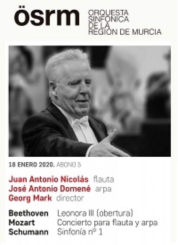 18th January 2020 flautist Juan Antonio Nicolás, harpist José Antonio Domené and conductor Georg Mark with the Murcia Symphony Orchestra at the Auditorio Víctor Villegas in Murcia