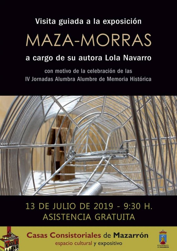 <span style='color:#780948'>ARCHIVED</span> - Saturday 13th July; Free guided tour of Maza-Morras exhibition in Mazarrón by the artist
