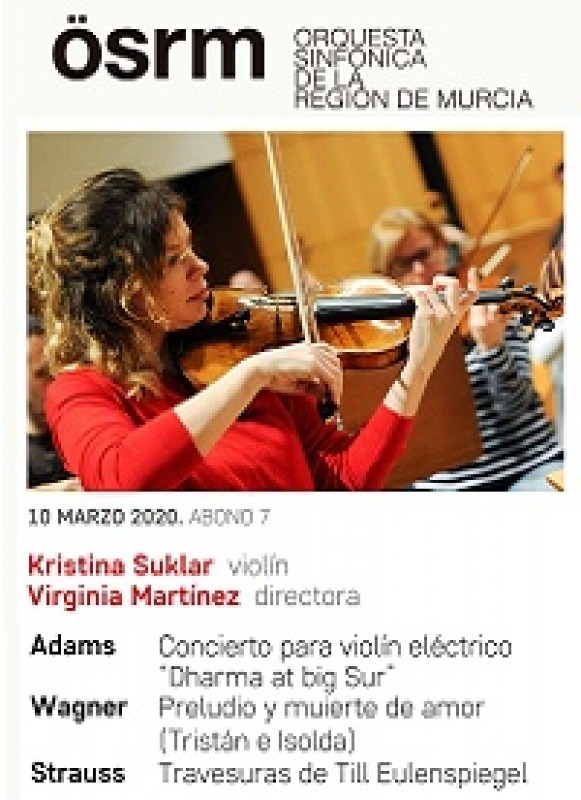 10th March 2020 Violinist Kristina Sukler and the Region of Murcia Symphony Orchestra at the Auditorio Víctor Villegas in Murcia