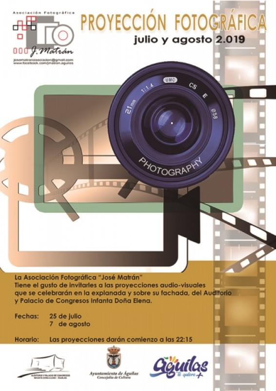<span style='color:#780948'>ARCHIVED</span> - Thursday 25th July Águilas: Free to view photographic projection of images onto the auditorio