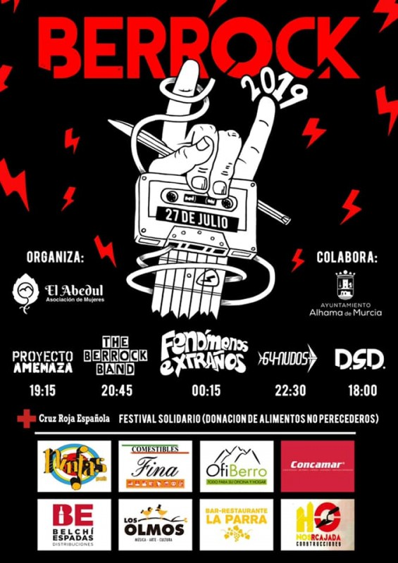 <span style='color:#780948'>ARCHIVED</span> - Saturday 27th July free live rock in El Berro, with Berrock 2019