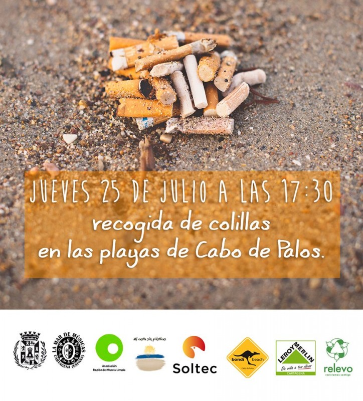 Thursday 25th July voluntary collection of cigarette butts on Cabo de Palos beaches