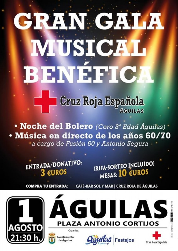 <span style='color:#780948'>ARCHIVED</span> - Thursday 1st August: Águilas musical benefit gala for Cruz Roja