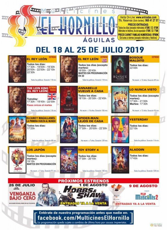 <span style='color:#780948'>ARCHIVED</span> - Tuesday 23rd July ENGLISH language cinema at the Multicines El Hornillo in Águilas