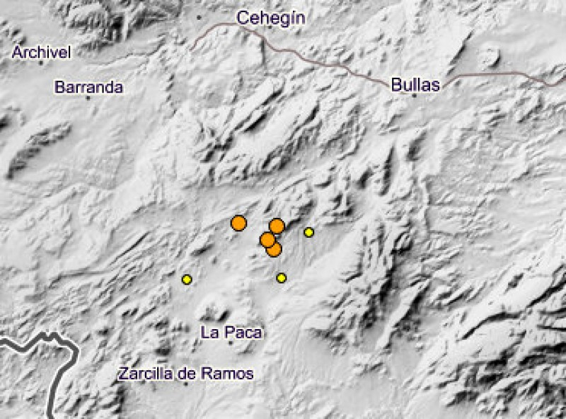 Seven minor earthquakes in the north-west of Murcia over the weekend