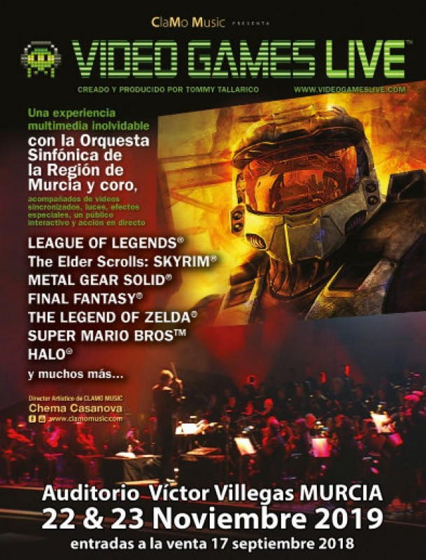 22nd and 23rd November 2019 symphonic video game music spectacular at the Auditorio Víctor Villegas in Murcia