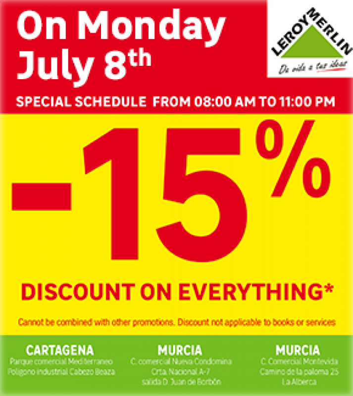 <span style='color:#780948'>ARCHIVED</span> - Get 15% off EVERYTHING at Leroy Merlin Stores Murcia on Monday 8th July 2019