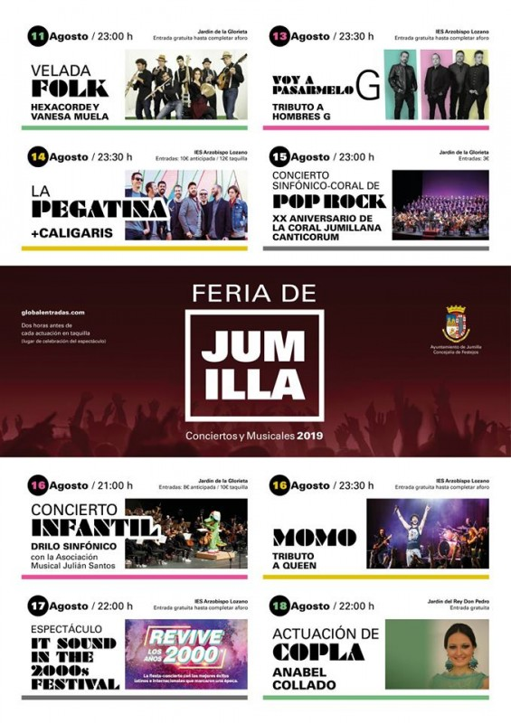 <span style='color:#780948'>ARCHIVED</span> - Concerts within the Jumilla Fiestas and Feria 11th to 18th August