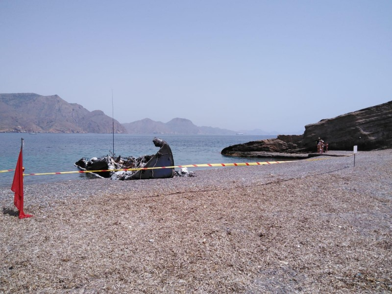 <span style='color:#780948'>ARCHIVED</span> - Cartagena beach closed after the fastest customs speedboat in Spain is gutted by fire
