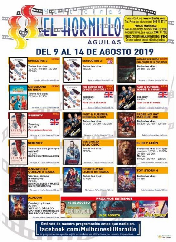 <span style='color:#780948'>ARCHIVED</span> - Tuesday 13th August THREE ENGLISH language films at the Águilas Multicine