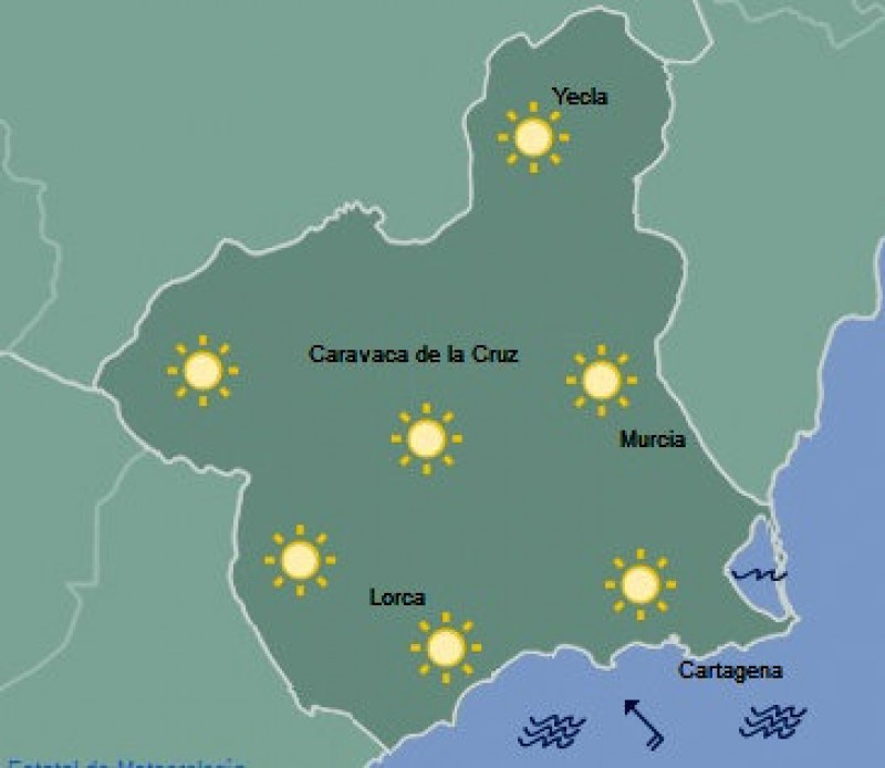 Sunny and just over 30 degrees in Murcia on Wednesday