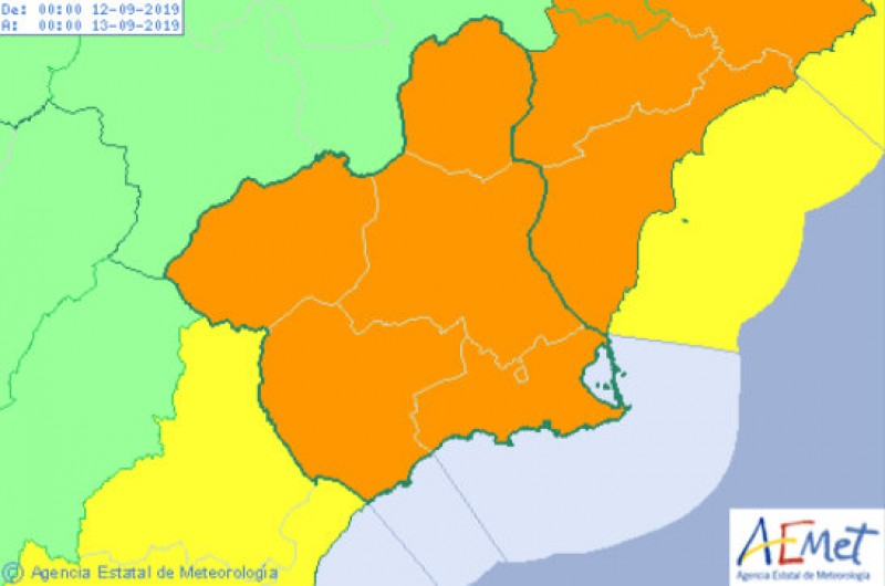 <span style='color:#780948'>ARCHIVED</span> - Orange gota fría storm alert throughout Murcia on Thursday