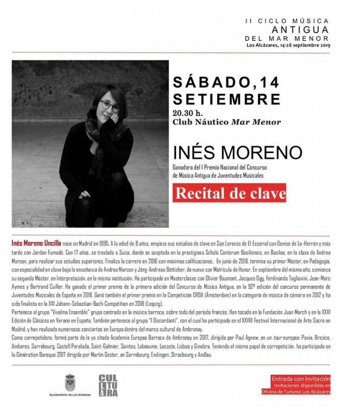 <span style='color:#780948'>ARCHIVED</span> - Free concerts in the Los Alcazares cycle of Early Music 14th, 21st and 28th September