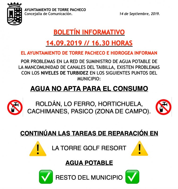 <span style='color:#780948'>ARCHIVED</span> - Torre Pacheco council warns about water quality in the municipality following Gota Fría