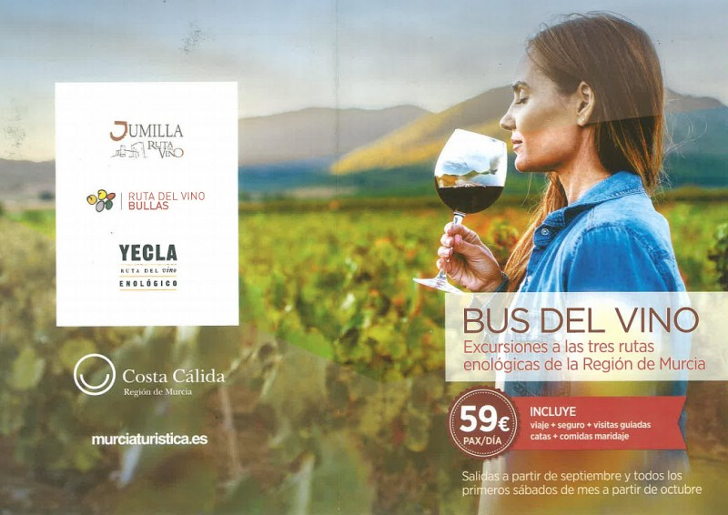 <span style='color:#780948'>ARCHIVED</span> - September to December 2019, the Murcia Wine Bus wine tasting day trips to Jumilla, Yecla and Bullas
