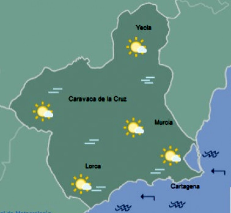<span style='color:#780948'>ARCHIVED</span> - Sunshine and temperatures in the high 20s in the Costa Cálida on Thursday