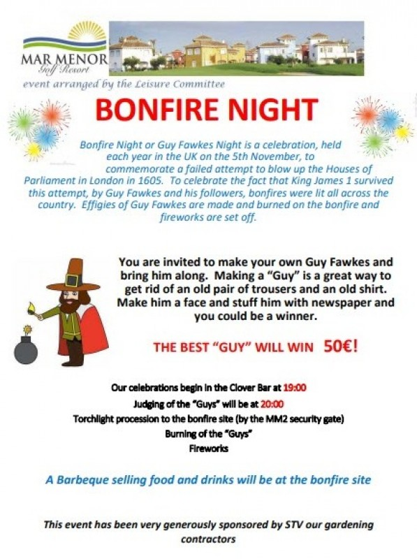 <span style='color:#780948'>ARCHIVED</span> - 5th November Guy Fawkes bonfire night on Mar Menor Golf Resort