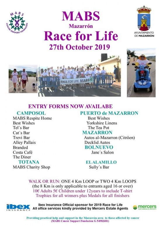 27th October 2019 MABS Cancer support Race for Life on Camposol, Mazarrón