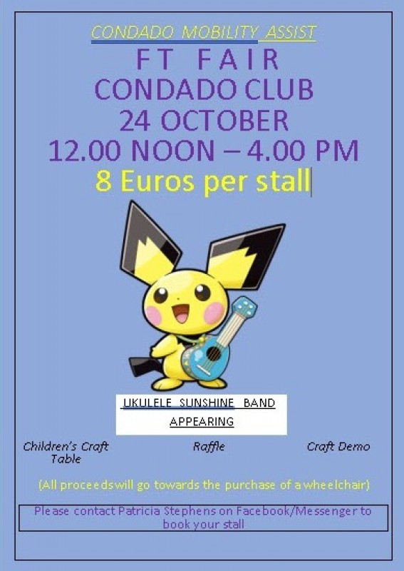 24th October Condado Mobility Assist Craft Fair on the Condado Club