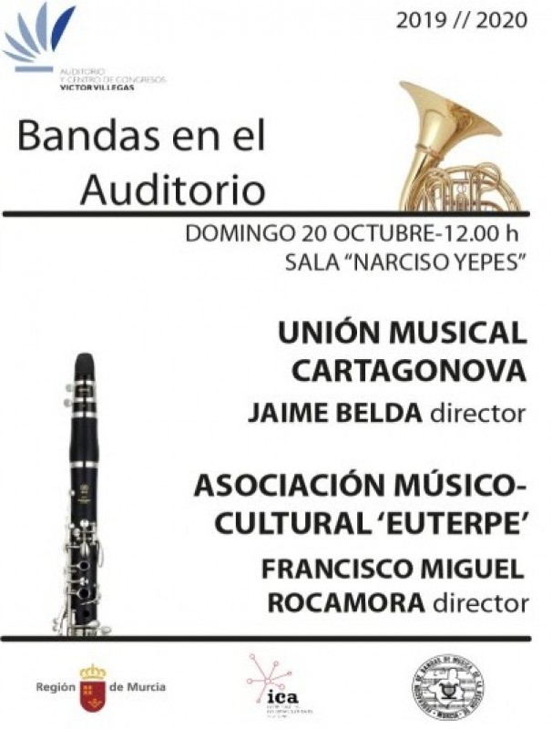Sunday 20th October; 3 euro lunchtime bands concert in the Murcia Victor Villegas Auditorium