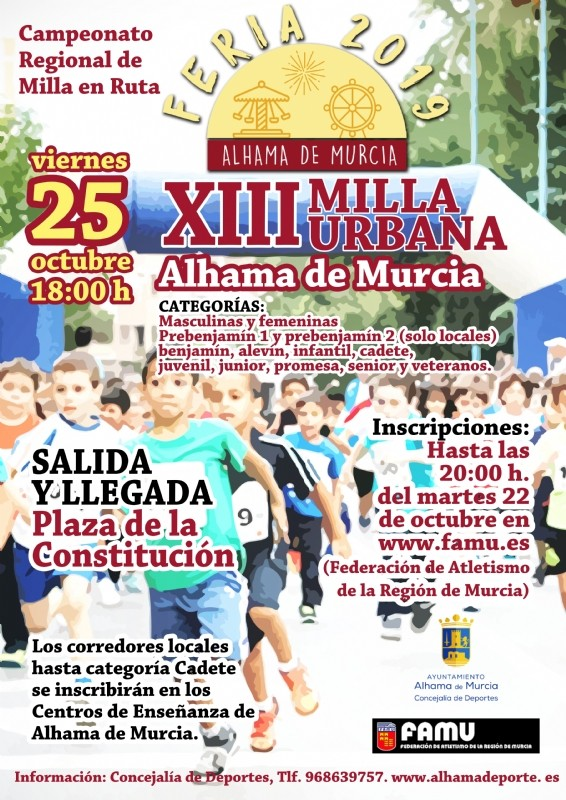 <span style='color:#780948'>ARCHIVED</span> - Friday 25th October 2019 XIII Milla Urbana Running Race in Alhama de Murcia