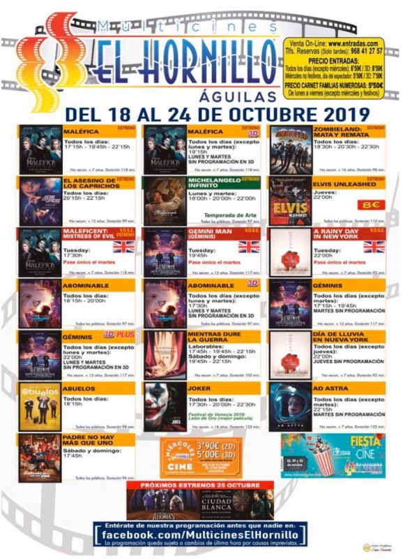 Tuesday 22nd October ENGLISH language cinema in Águilas
