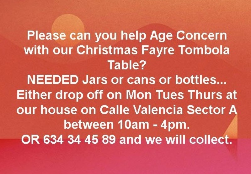 <span style='color:#780948'>ARCHIVED</span> - Donations of goodies for Age Concern Christmas fair needed on Camposol