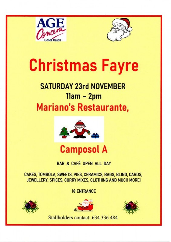 Saturday 23rd November Age Concern Christmas fair on Camposol