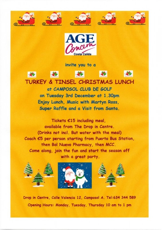 Tuesday 3rd December Age Concern Costa Cálida Christmas lunch
