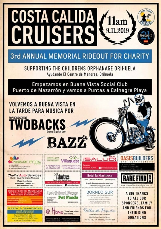 <span style='color:#780948'>ARCHIVED</span> - 9th November Costa Calida Cruisers rideout: all welcome